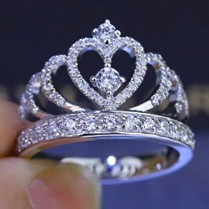 Silver Crown Shape Rhinestone Crystal Rings